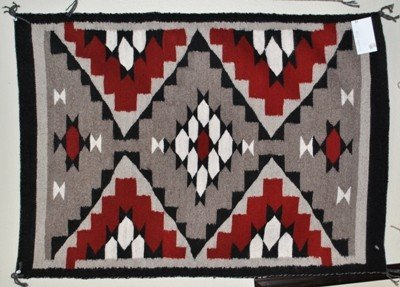 554: Navajo Red & White Rug - Meda Nez