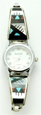 556: Zuni Multi-Stone White Tone Women's Watch - Leande