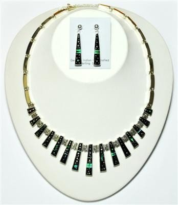 649: Navajo Night Sky Design Necklace & Earrings Set -