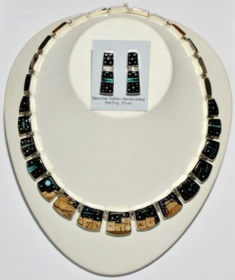 704: Navajo Pueblo Sterling Silver Necklace & Earrings