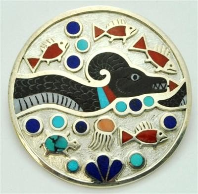 846: Zuni Multi-Stone Sea Serpent Sterling Silver Cir