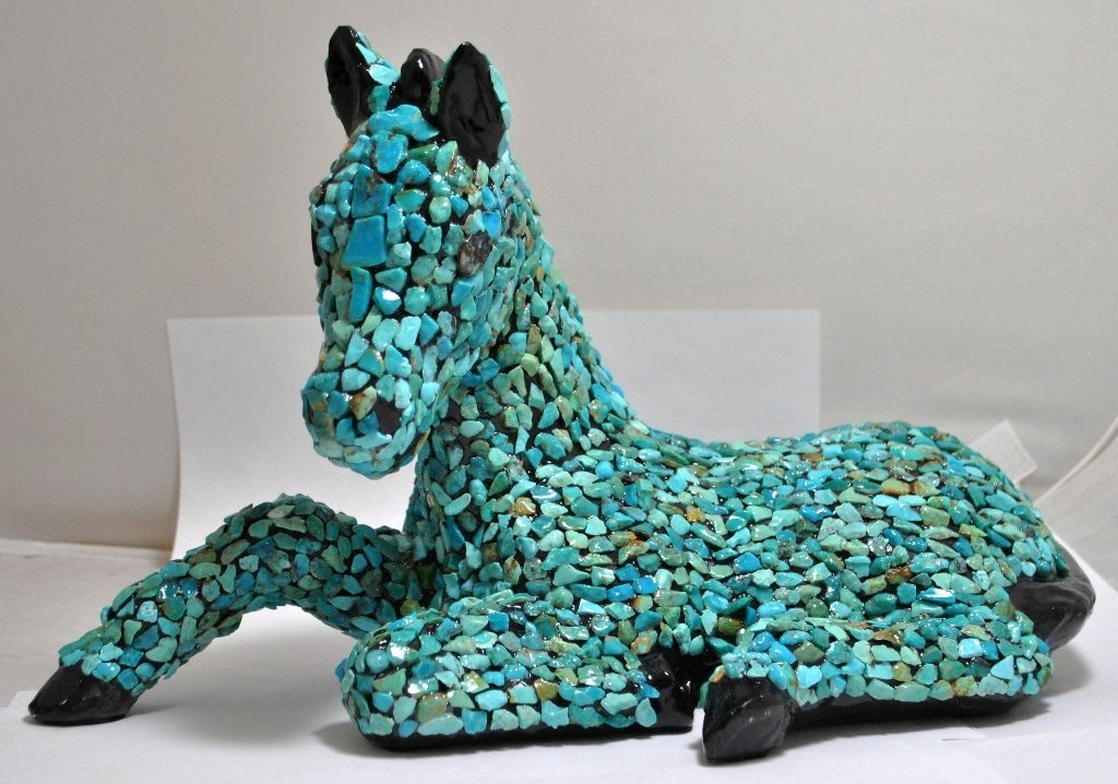 13: Navajo Turquoise Pony / Horse Pottery with Abalone