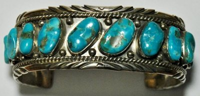 14: Old Pawn Turquoise Sterling Silver Cuff Bracelet -