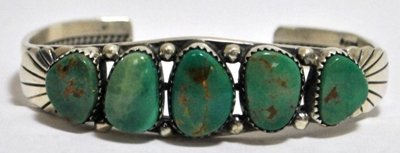 17: Old Pawn Beautiful Rusty Green Turquoise Sterling S