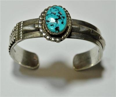 22: Old Pawn Turquoise Sterling Silver Cuff Bracelet