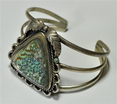 23: Old Pawn Abalone Sterling Silver Cuff Bracelet