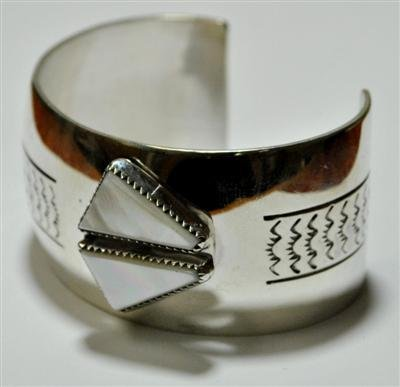 24: Old Pawn Navajo Mother of Pearl Sterling Silver Cuf