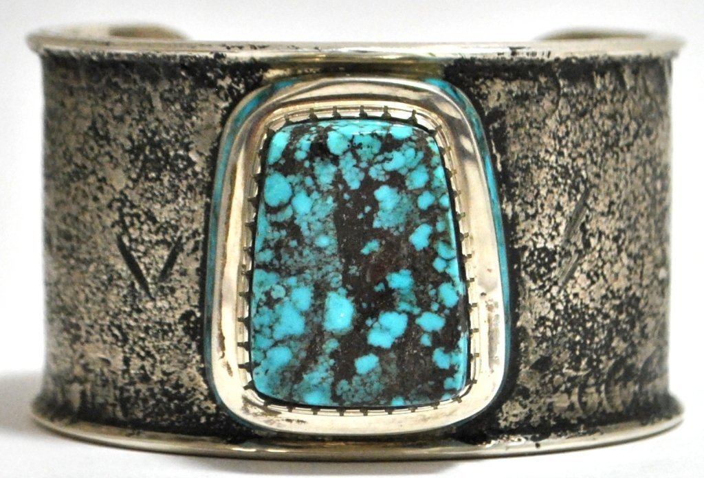 192: Old Pawn #8 Number Eight Turquoise Sterling Silver