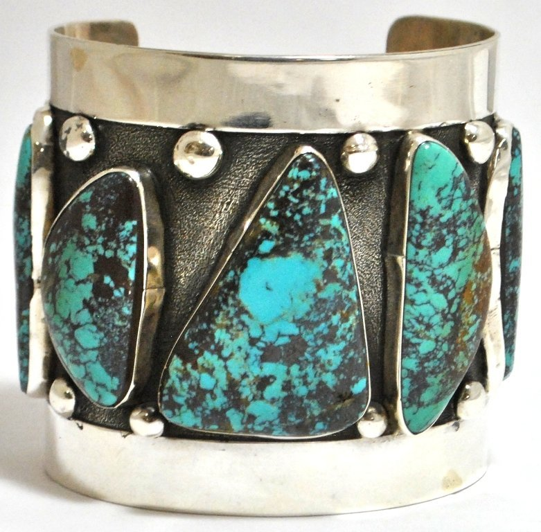 193: Old Pawn Blue Diamond Turquoise Sterling Silver Cu