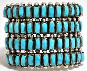 Old Pawn Zuni Turquoise Petit Point Sterling Silver