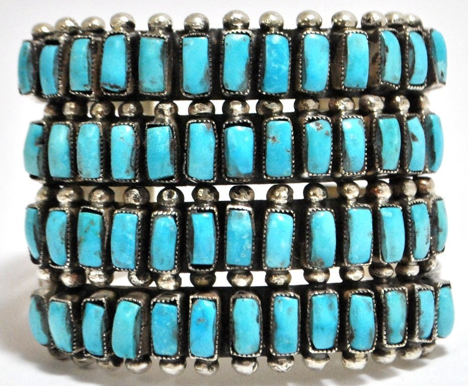 5: Old Pawn Zuni Turquoise Petit Point Sterling Silver