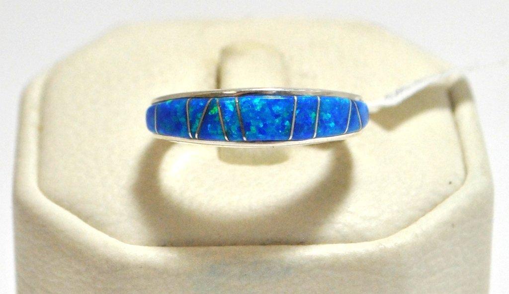 7: Navajo Ocean Blue Opal Inlay Sterling Silver Women's