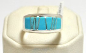 Navajo Turquoise Inlay Sterling Silver Men's Ring -