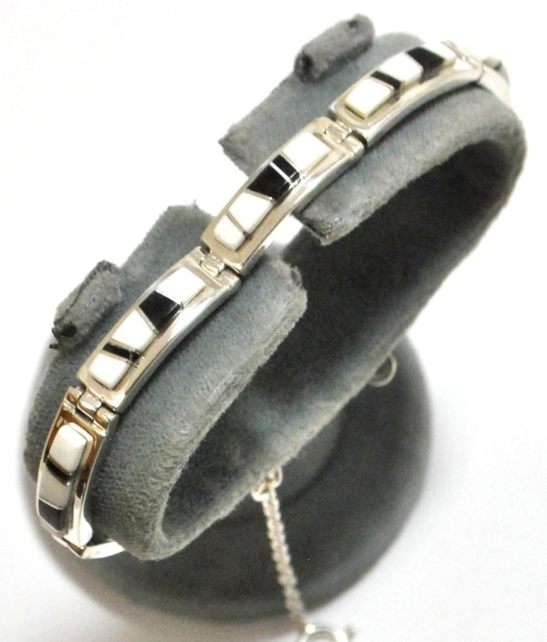 9: Navajo Magnesite & Black Jade Inlay Sterling Silver