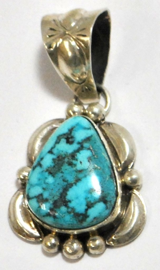 10: Navajo Spider Web #8 Turquoise Sterling Silver Pend
