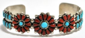 11: Old Pawn Zuni Coral & Turquoise Petit Point Sterlin