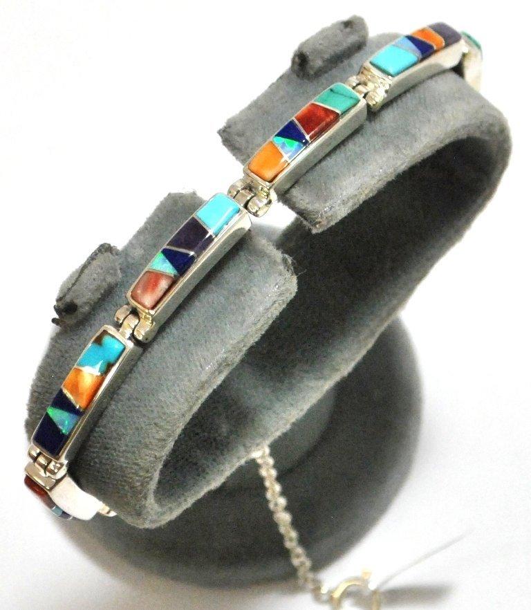12: Navajo Multi-Stone Inlay Sterling Silver Link Brace