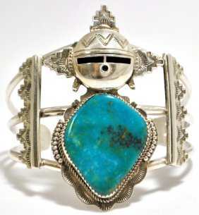 Old Pawn Navajo Morenci Turquoise Sterling Silver M
