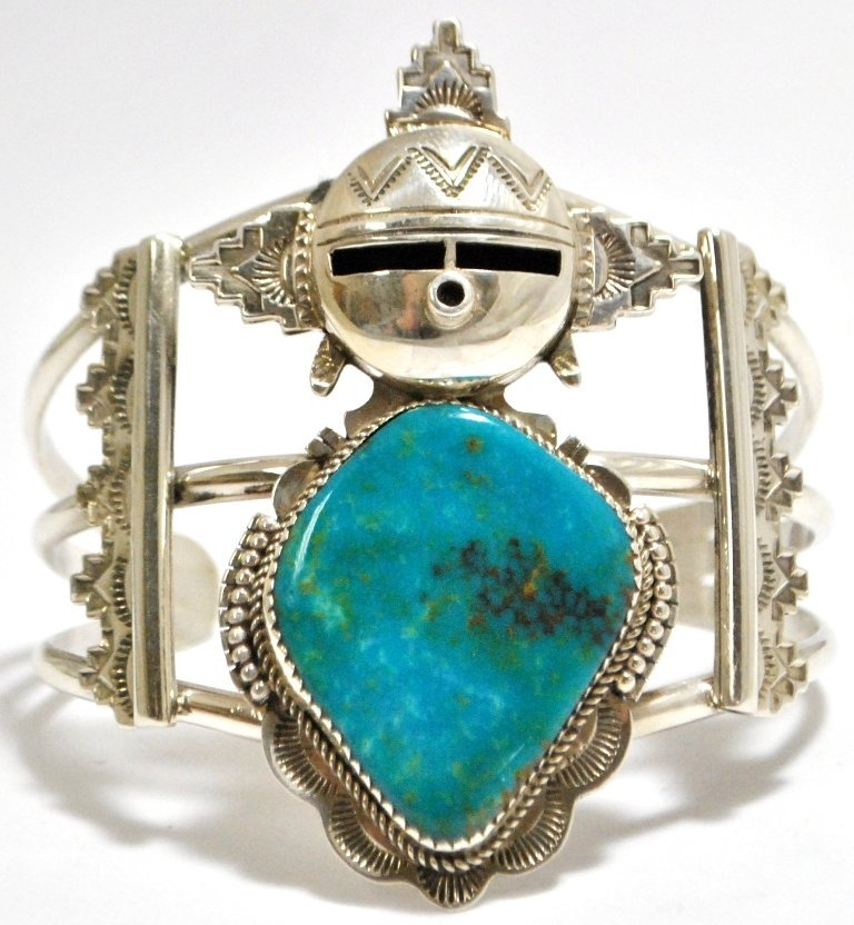 14: Old Pawn Navajo Morenci Turquoise Sterling Silver M