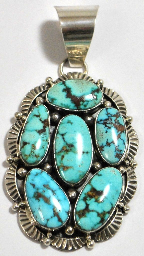 16: Navajo Spider Web #8 Turquoise Sterling Silver Pend