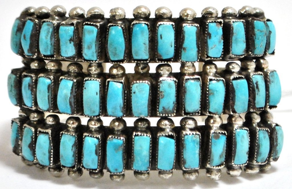 18: Old Pawn Zuni Turquoise Petit Point Sterling Silver