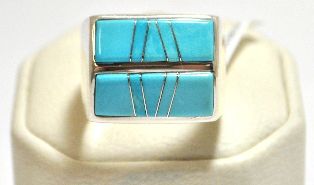 19: Navajo Turquoise Inlay Sterling Silver Men's Ring -