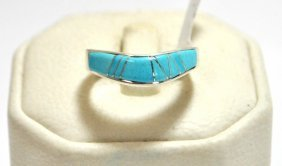 Navajo Turquoise Inlay Sterling Silver Women's Ring