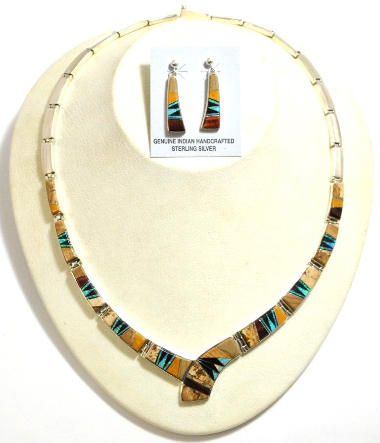 21: Navajo Multi-Stone Inlay Sterling Silver Link Neckl
