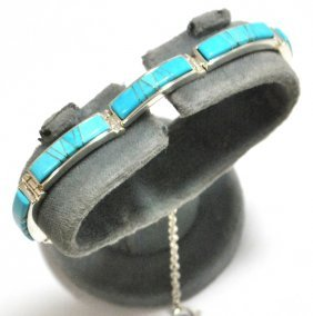 Navajo Turquoise Inlay Sterling Silver Link Bracele