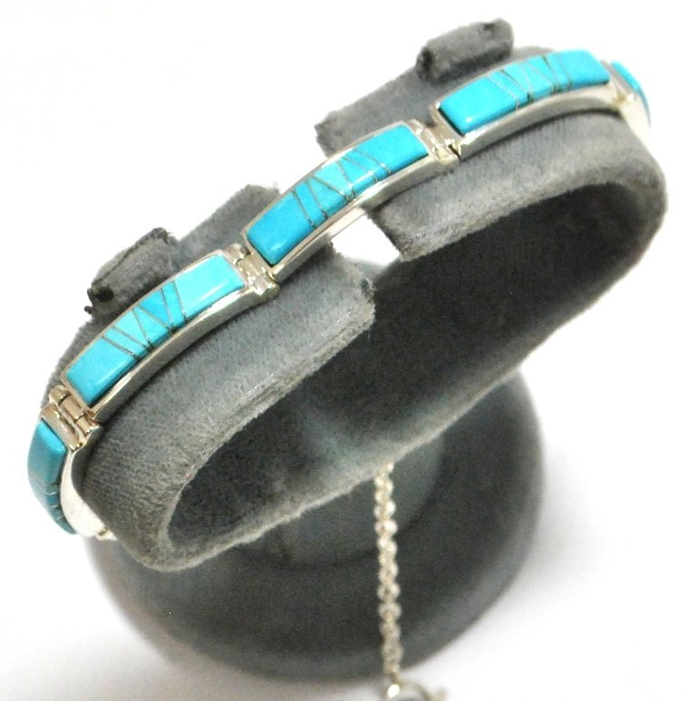 23: Navajo Turquoise Inlay Sterling Silver Link Bracele