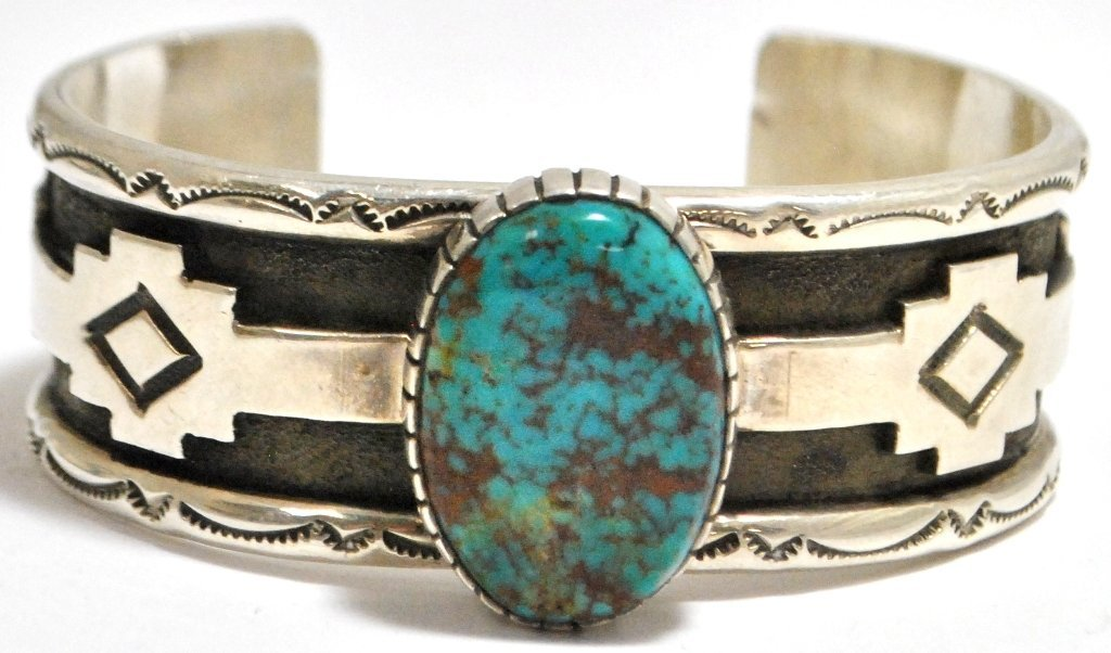 24: Old Pawn Navajo Blue Diamond Turquoise Sterling Sil