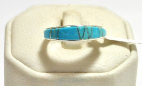 25: Navajo Turquoise Inlay Sterling Silver Women's Ring