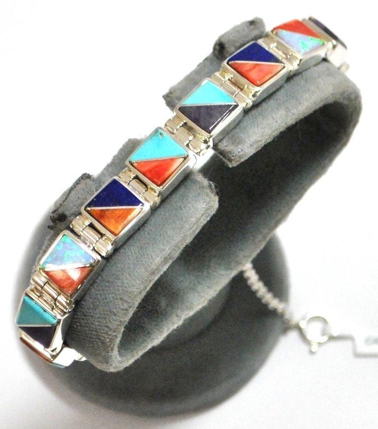 26: Navajo Multi-Stone Inlay Sterling Silver Link Brace