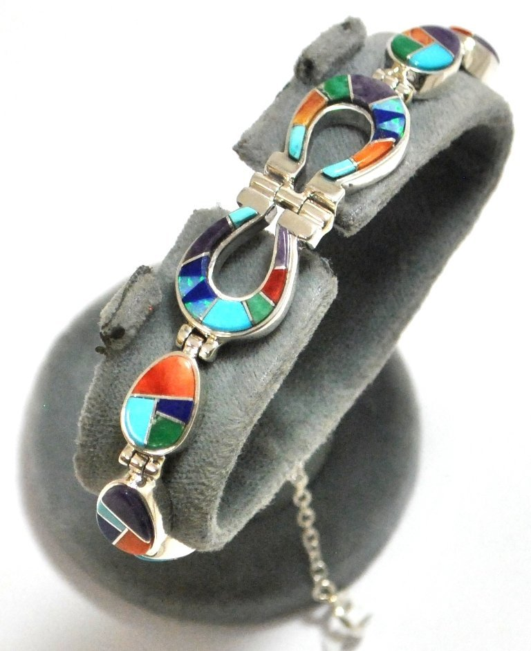 27: Navajo Multi-Stone Inlay Sterling Silver Horseshoes