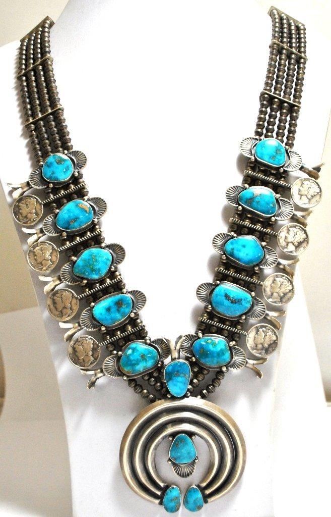 40: Old Pawn Navajo Morenci Turquoise & Mercury Dime St