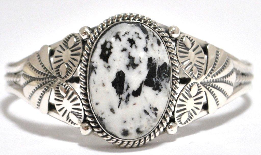 2: Navajo White Buffalo Sterling Silver Cuff Bracelet -
