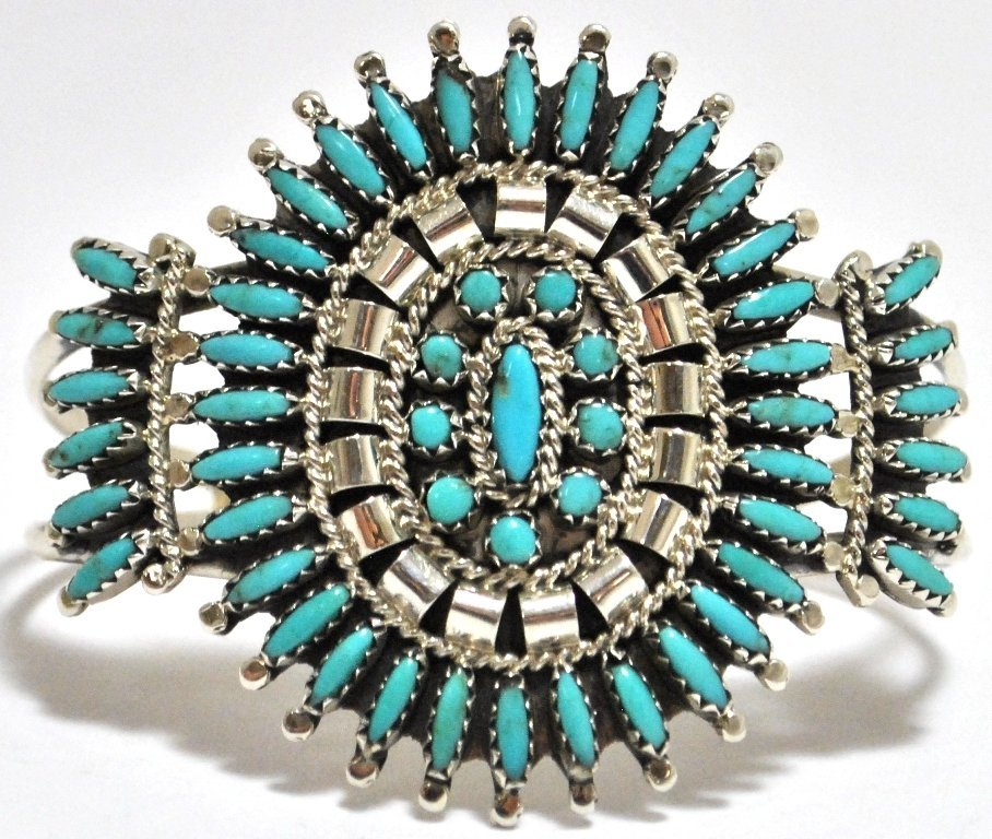 3: Old Pawn Zuni Turquoise Needlepoint Sterling Silver