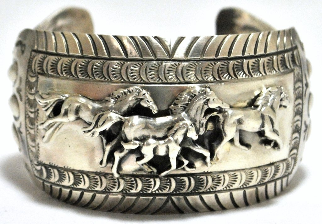 4: Old Pawn Navajo Trotting Horses Sterling Silver Cuff