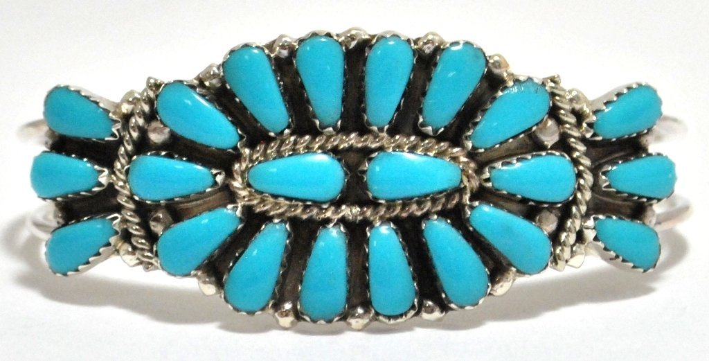 6: Navajo Turquoise Petit Point Sterling Silver Cuff Br