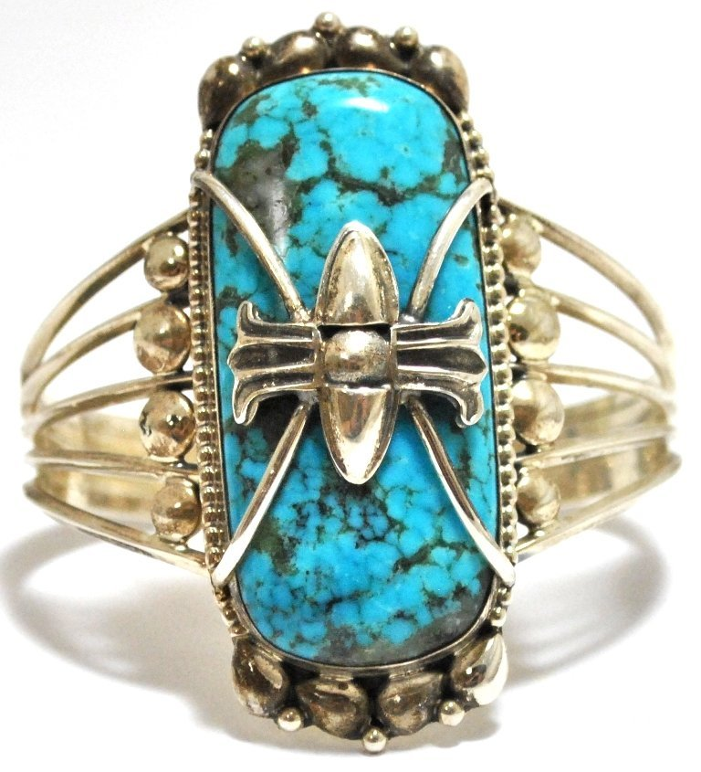 8: Old Pawn Navajo Smokey Valley Turquoise Sterling Sil