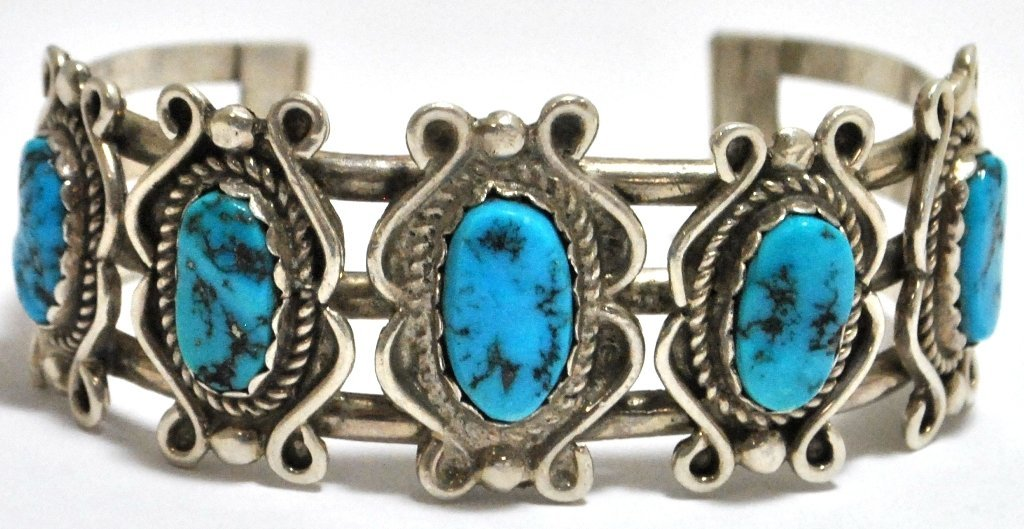 9: Old Pawn Turquoise Sterling Silver Cuff Bracelet