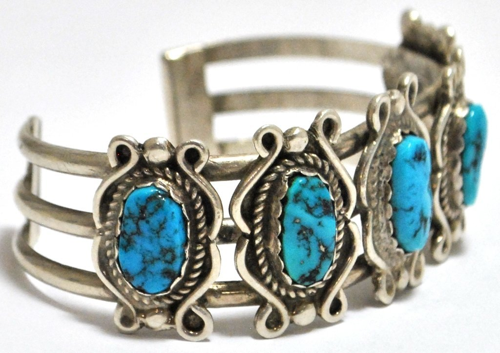 9: Old Pawn Turquoise Sterling Silver Cuff Bracelet - 2