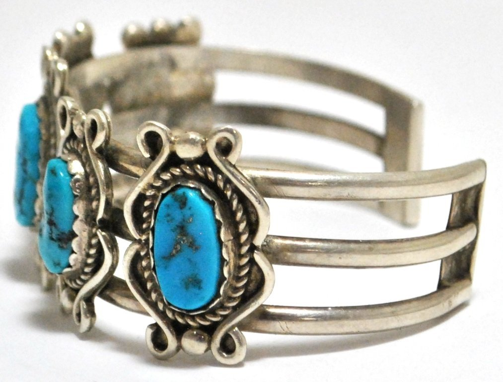 9: Old Pawn Turquoise Sterling Silver Cuff Bracelet - 3