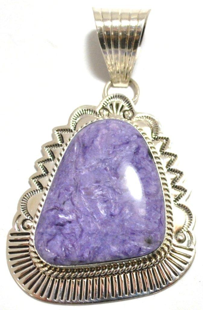11: Navajo Charoite Sterling Silver Pendant - Mary Ann