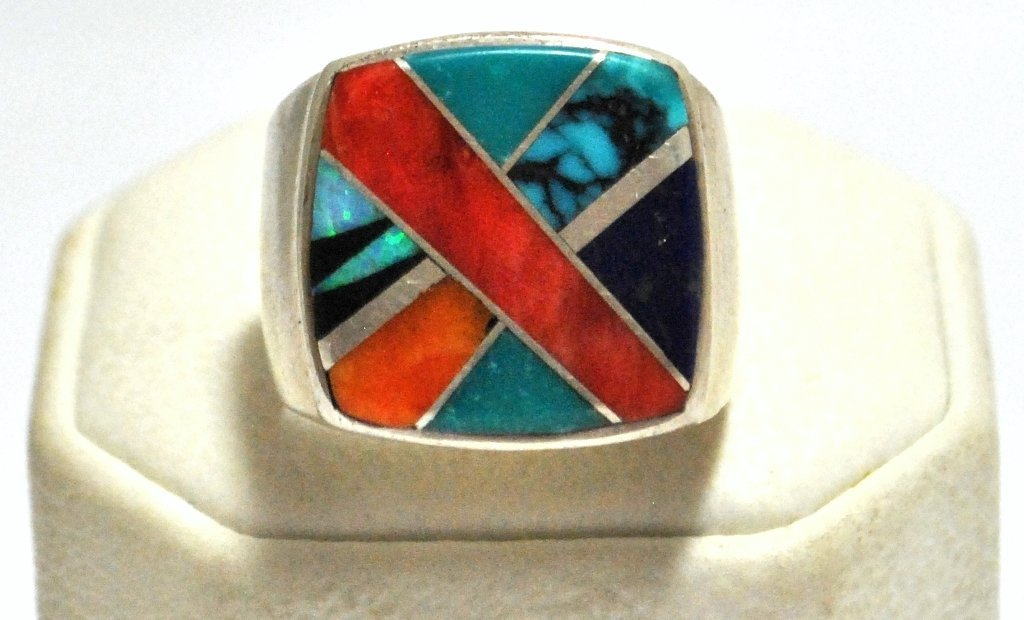 12: Old Pawn Multi-Stone Inlay Sterling Silver Men's Ri