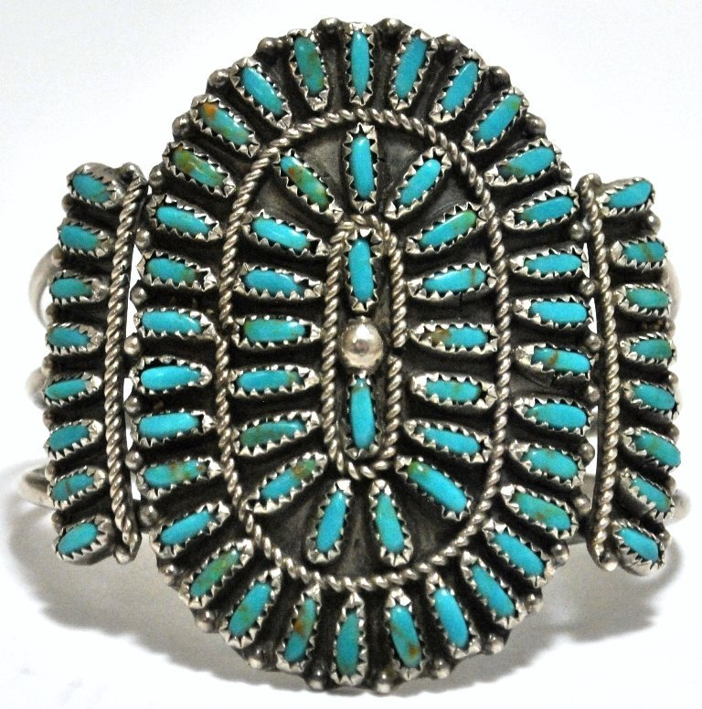 13: Old Pawn Turquoise Needlepoint Cluster Sterling Sil