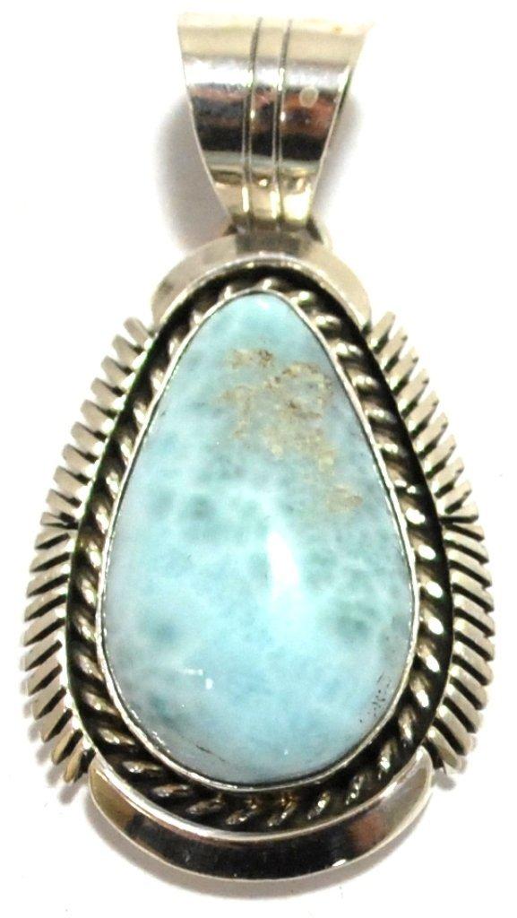 15: Navajo Larimar Sterling Silver Pendant - Eugene Bel