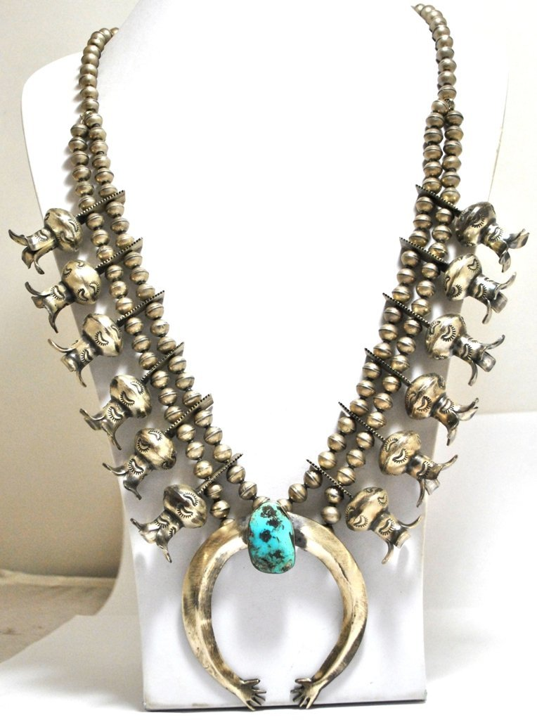 18: Old Pawn Turquoise Sterling Silver Heavy Squash Blo