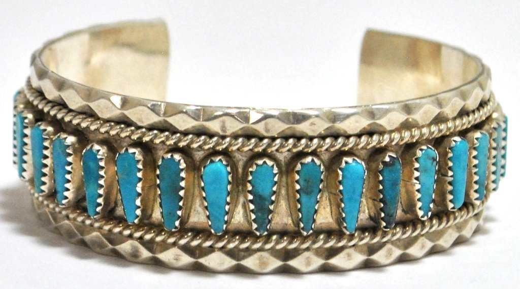 22: Old Pawn Navajo Turquoise Needlepoint Sterling Silv
