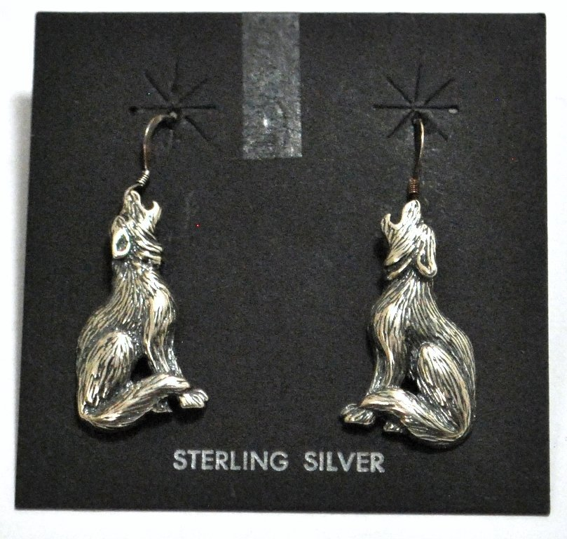 23: Old Pawn Sterling Silver Wolves French Hook Earring